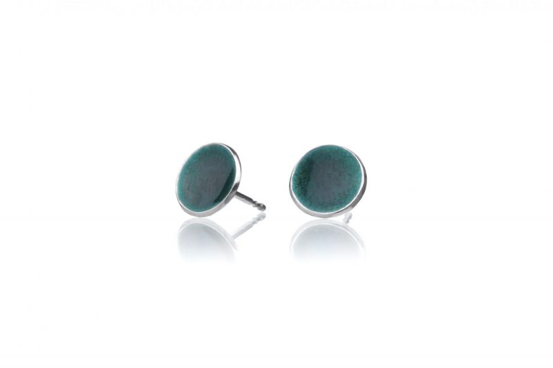 Miniplaneter, håndlaget ørepynt i sterling sølv med smaragdgrønn emalje
