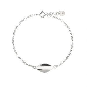 Mini blad enkelt armbånd i sølv